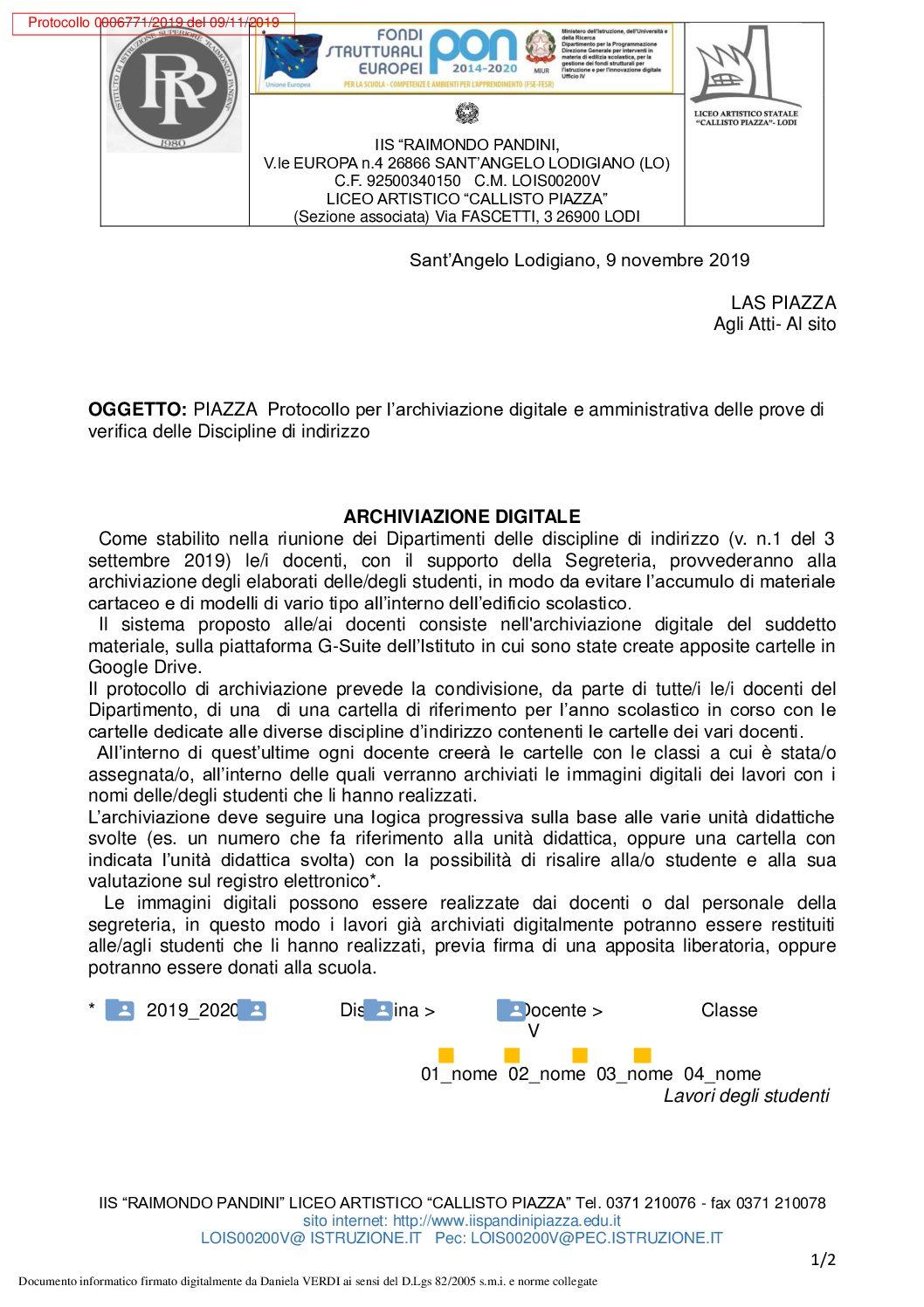 PER SITO LAS PIAZZA REGOLAMENTO PER L'ARCHIVIAZIONE DEGLI ELABORATI DELLE DISCIPLINE D'INDIRIZZO