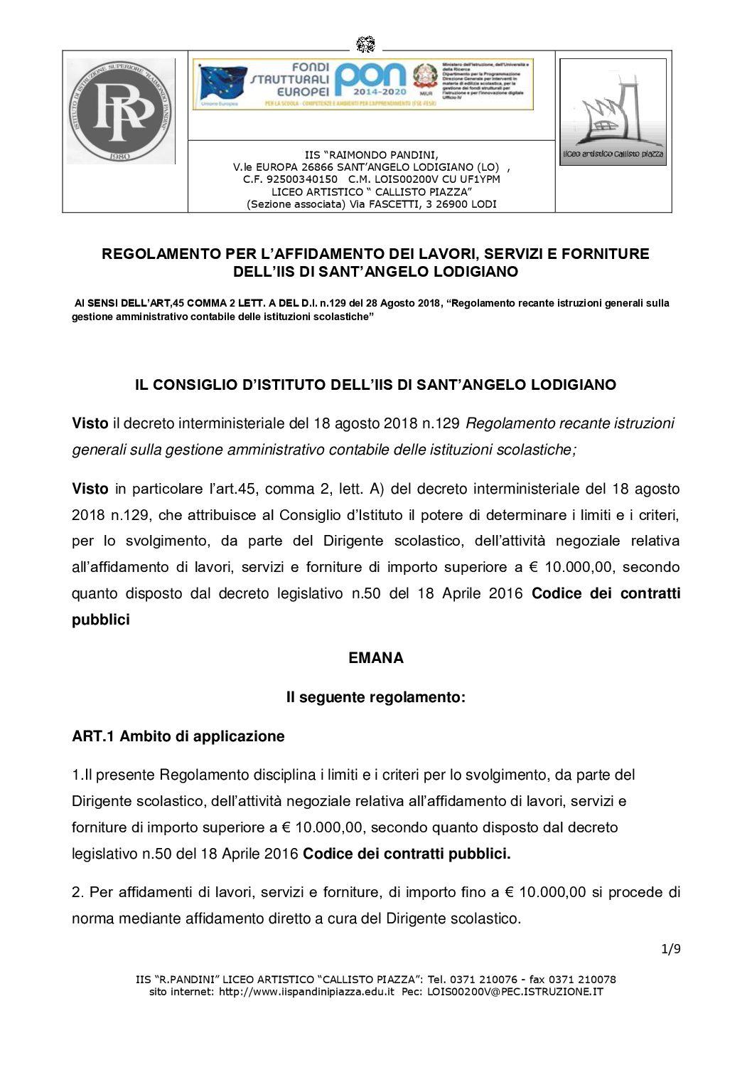 REGOLAMENTO PER L'AFFIDAMENTO DEI LAVORI, SERVIZI E FORNITURE